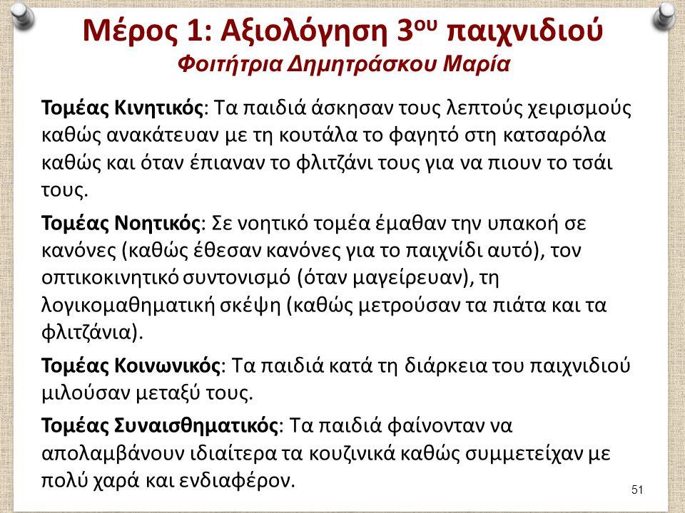 Μέρος 1: Αξιολόγηση 3 ου παιχνιδιού Φοιτήτρια Δημητράσκου Μαρία Τομέας Κινητικός: Τα παιδιά άσκησαν τους λεπτούς χειρισμούς καθώς ανακάτευαν με τη κου