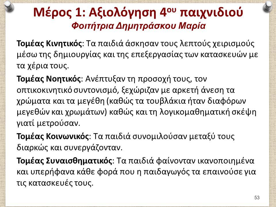 Μέρος 1: Αξιολόγηση 4 ου παιχνιδιού Φοιτήτρια Δημητράσκου Μαρία Τομέας Κινητικός: Τα παιδιά άσκησαν τους λεπτούς χειρισμούς μέσω της δημιουργίας και τ