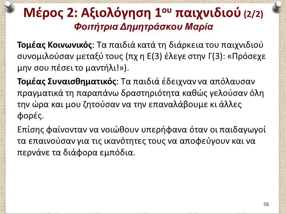 Μέρος 2: Αξιολόγηση 1 ου παιχνιδιού (2/2) Φοιτήτρια Δημητράσκου Μαρία Τομέας Κοινωνικός: Τα παιδιά κατά τη διάρκεια του παιχνιδιού συνομιλούσαν μεταξύ