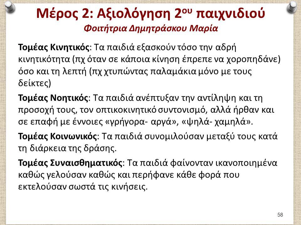 Μέρος 2: Αξιολόγηση 2 ου παιχνιδιού Φοιτήτρια Δημητράσκου Μαρία Τομέας Κινητικός: Τα παιδιά εξασκούν τόσο την αδρή κινητικότητα (πχ όταν σε κάποια κίν