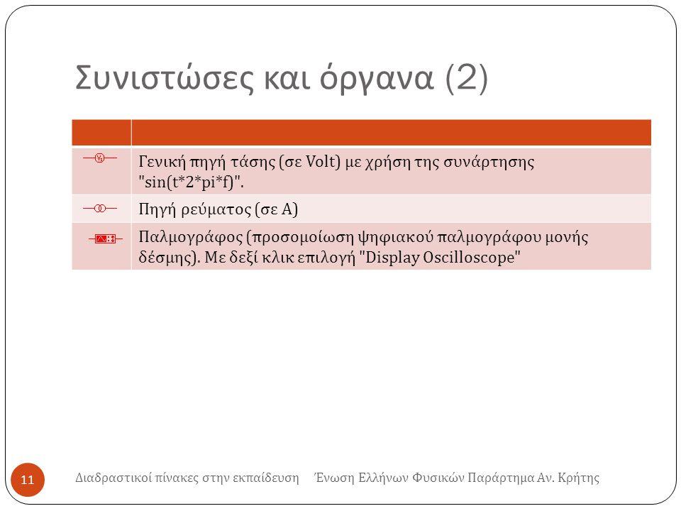 Συνιστώσες και όργανα (2) 11 Γενική πηγή τάσης (σε Volt) με χρήση της συνάρτησης sin(t*2*pi*f) .