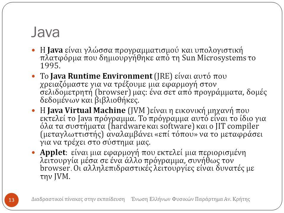 Java Η Java είναι γλώσσα προγραμματισμού και υπολογιστική πλατφόρμα που δημιουργήθηκε από τη Sun Microsystems το 1995. Το Java Runtime Environment (JR