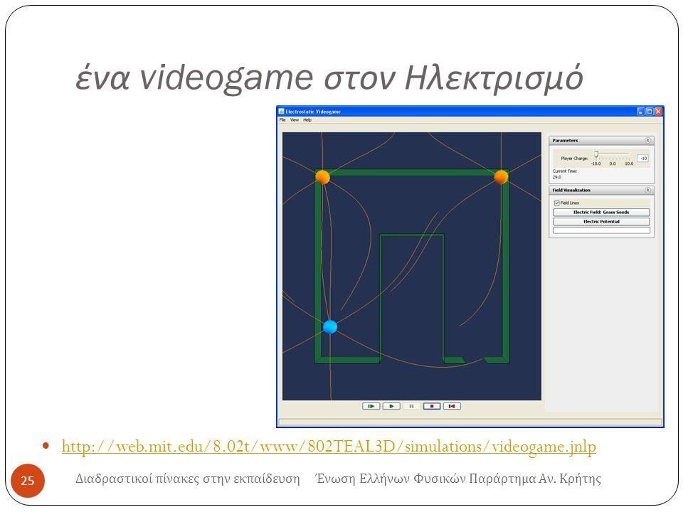 ένα videogame στον Ηλεκτρισμό http://web.mit.edu/8.02t/www/802TEAL3D/simulations/videogame.jnlp 25 Διαδραστικοί πίνακες στην εκπαίδευση Ένωση Ελλήνων Φυσικών Παράρτημα Αν.