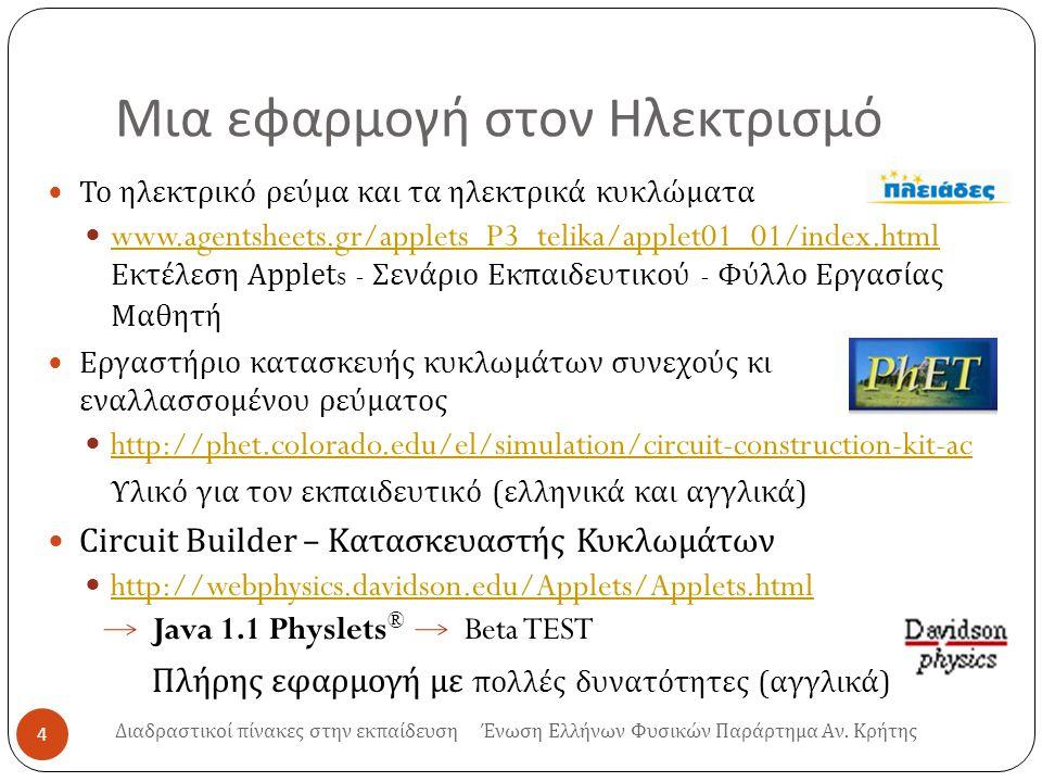 Μια εφαρμογή στον Ηλεκτρισμό 4 Το ηλεκτρικό ρεύμα και τα ηλεκτρικά κυκλώματα www.agentsheets.gr/applets_P3_telika/applet01_01/index.html Εκτέλεση Applets - Σενάριο Εκπαιδευτικού - Φύλλο Εργασίας Μαθητή www.agentsheets.gr/applets_P3_telika/applet01_01/index.html Εργαστήριο κατασκευής κυκλωμάτων συνεχούς κι εναλλασσομένου ρεύματος http://phet.colorado.edu/el/simulation/circuit-construction-kit-ac Υλικό για τον εκπαιδευτικό ( ελληνικά και αγγλικά ) Circuit Builder – Κατασκευαστής Κυκλωμάτων http://webphysics.davidson.edu/Applets/Applets.html Java 1.1 Physlets ® Beta TEST http://webphysics.davidson.edu/Applets/Applets.html Πλήρης εφαρμογή με πολλές δυνατότητες ( αγγλικά ) Διαδραστικοί πίνακες στην εκπαίδευση Ένωση Ελλήνων Φυσικών Παράρτημα Αν.