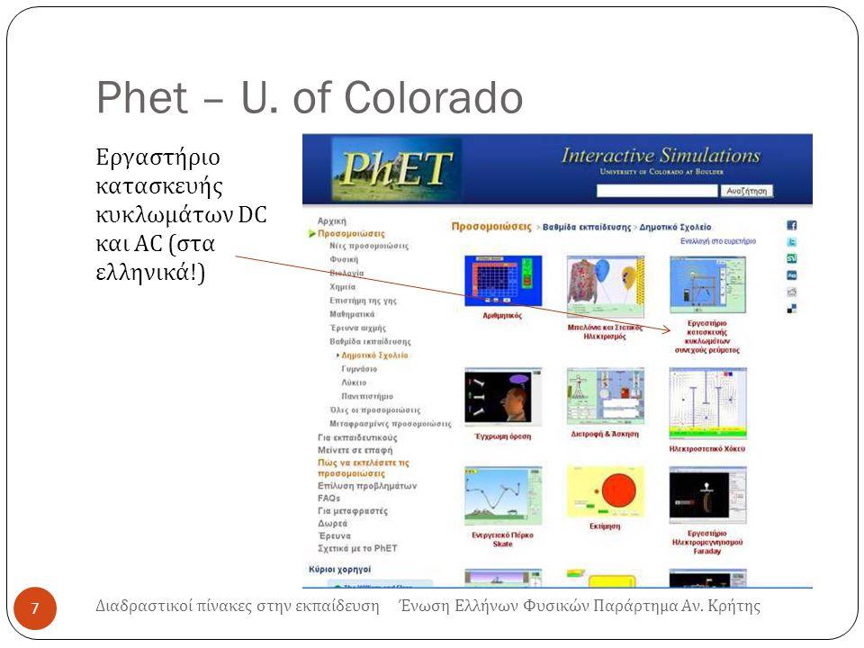 Phet – U. of Colorado Εργαστήριο κατασκευής κυκλωμάτων DC και AC ( στα ελληνικά !) 7 Διαδραστικοί πίνακες στην εκπαίδευση Ένωση Ελλήνων Φυσικών Παράρτ