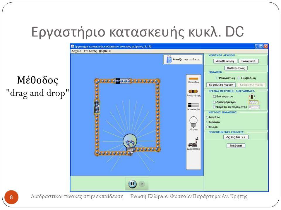 Εργαστήριο κατασκευής κυκλ. DC 8 Διαδραστικοί πίνακες στην εκπαίδευση Ένωση Ελλήνων Φυσικών Παράρτημα Αν. Κρήτης Μέθοδος