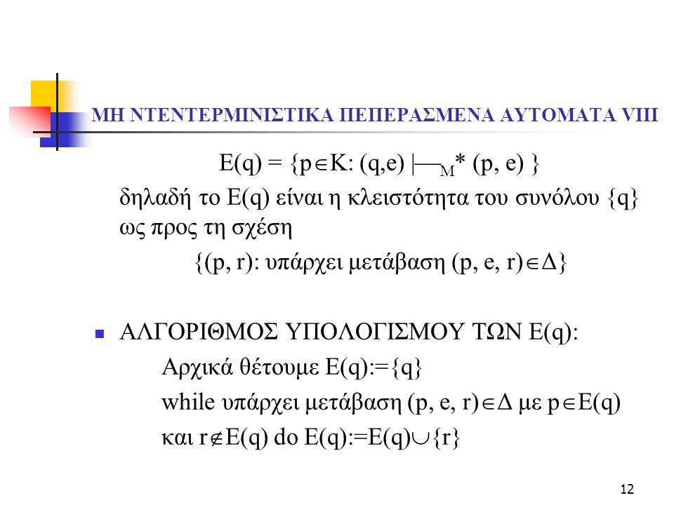 12 ΜΗ ΝΤΕΝΤΕΡΜΙΝΙΣΤΙΚΑ ΠΕΠΕΡΑΣΜΕΝΑ ΑΥΤΟΜΑΤΑ VΙIΙ E(q) = {p  K: (q,e)  M * (p, e) } δηλαδή το E(q) είναι η κλειστότητα του συνόλου {q} ως προς τη σχ