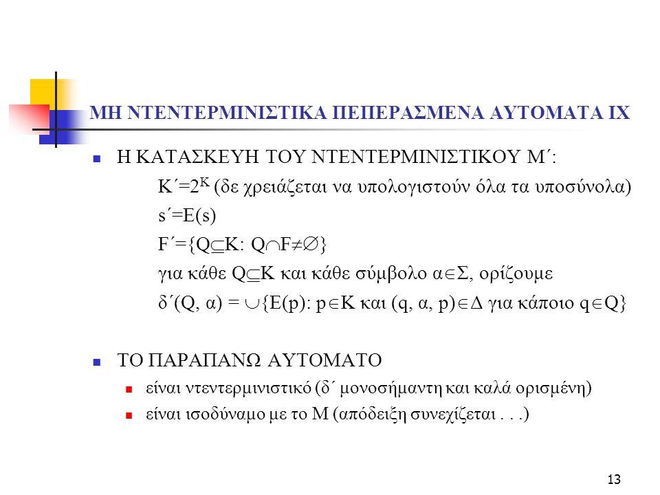 13 ΜΗ ΝΤΕΝΤΕΡΜΙΝΙΣΤΙΚΑ ΠΕΠΕΡΑΣΜΕΝΑ ΑΥΤΟΜΑΤΑ ΙX Η ΚΑΤΑΣΚΕΥΗ ΤΟΥ ΝΤΕΝΤΕΡΜΙΝΙΣΤΙΚΟΥ Μ΄: Κ΄=2 K (δε χρειάζεται να υπολογιστούν όλα τα υποσύνολα) s΄=E(s) F