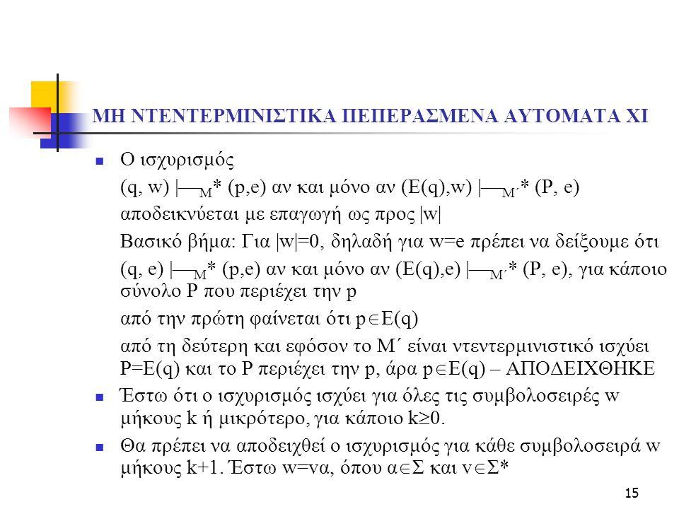 15 ΜΗ ΝΤΕΝΤΕΡΜΙΝΙΣΤΙΚΑ ΠΕΠΕΡΑΣΜΕΝΑ ΑΥΤΟΜΑΤΑ XΙ Ο ισχυρισμός (q, w)  M * (p,e) αν και μόνο αν (Ε(q),w)  M΄ * (P, e) αποδεικνύεται με επαγωγή ως προ