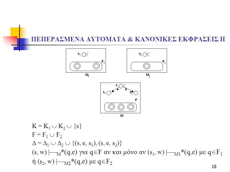 18 ΠΕΠΕΡΑΣΜΕΝΑ ΑΥΤΟΜΑΤΑ & ΚΑΝΟΝΙΚΕΣ ΕΚΦΡΑΣΕΙΣ ΙI K = K 1  K 2  {s} F = F 1  F 2 Δ = Δ 1  Δ 2  {(s, e, s 1 ), (s, e, s 2 )} (s, w)  M *(q,e) για