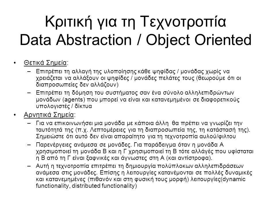 Κριτική για τη Τεχνοτροπία Data Abstraction / Object Oriented Θετικά Σημεία: –Επιτρέπει τη αλλαγή της υλοποίησης κάθε ψηφίδας / μονάδας χωρίς να χρειάζεται να αλλάξουν οι ψηφίδες / μονάδες πελάτες τους (θεωρούμε ότι οι διαπροσωπείες δεν αλλάζουν) –Επιτρέπει τη δόμηση του συστήματος σαν ένα σύνολο αλληλεπιδρώντων μονάδων (agents) που μπορεί να είναι και κατανεμημένοι σε διαφορετικούς υπολογιστές / δίκτυα Αρνητικά Σημεία: –Για να επικοινωνήσει μια μονάδα με κάποια άλλη θα πρέπει να γνωρίζει την ταυτότητά της (π.χ.