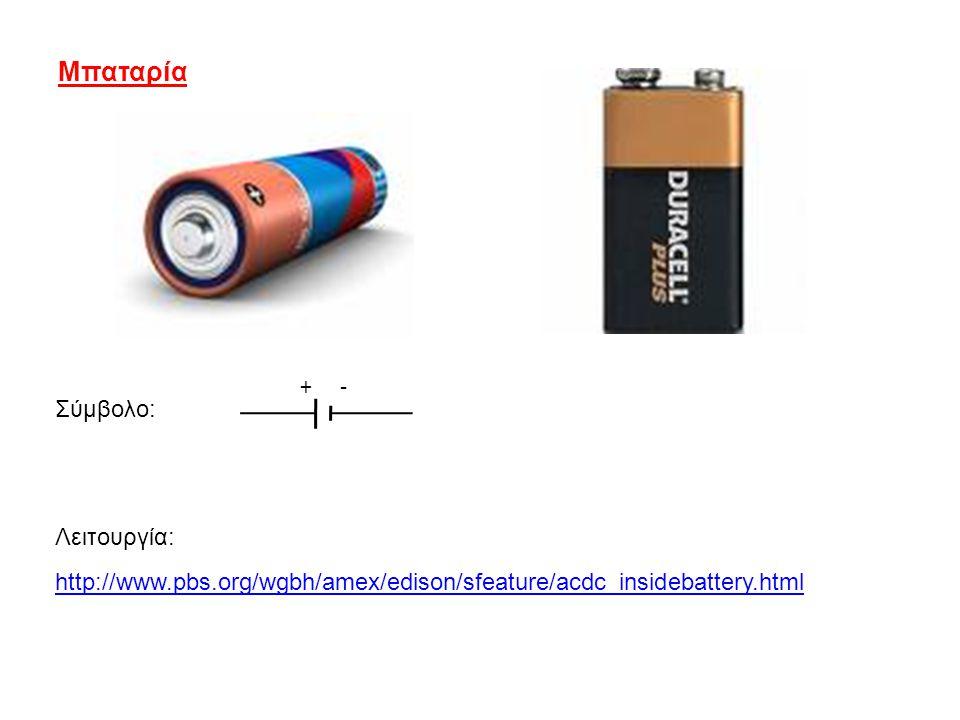 Μπαταρία http://www.pbs.org/wgbh/amex/edison/sfeature/acdc_insidebattery.html Λειτουργία: Σύμβολο: + -