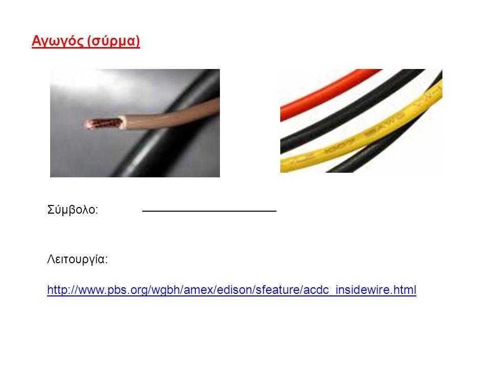 Αγωγός (σύρμα) Σύμβολο: http://www.pbs.org/wgbh/amex/edison/sfeature/acdc_insidewire.html Λειτουργία: