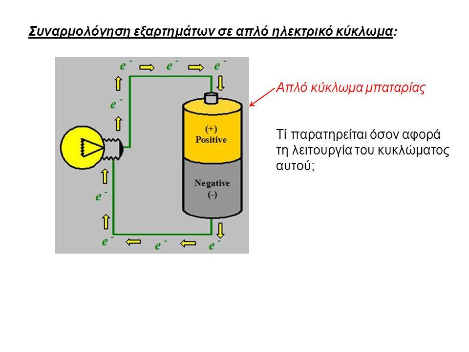 Συναρμολόγηση εξαρτημάτων σε απλό ηλεκτρικό κύκλωμα: Απλό κύκλωμα μπαταρίας Τί παρατηρείται όσον αφορά τη λειτουργία του κυκλώματος αυτού;