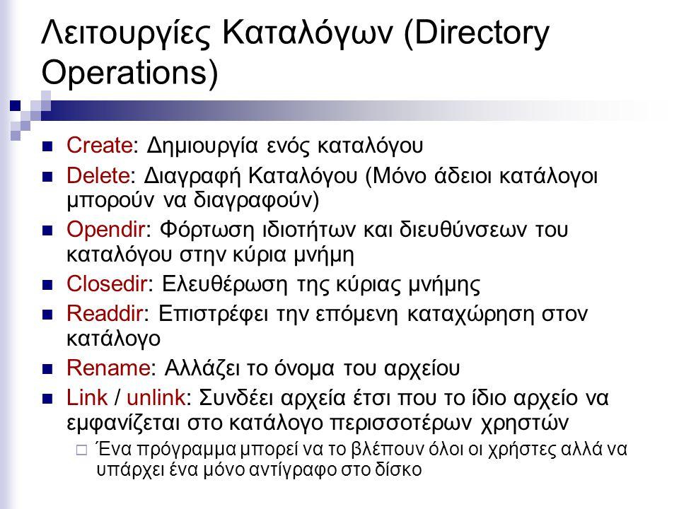 Λειτουργίες Καταλόγων (Directory Operations) Create: Δημιουργία ενός καταλόγου Delete: Διαγραφή Καταλόγου (Μόνο άδειοι κατάλογοι μπορούν να διαγραφούν