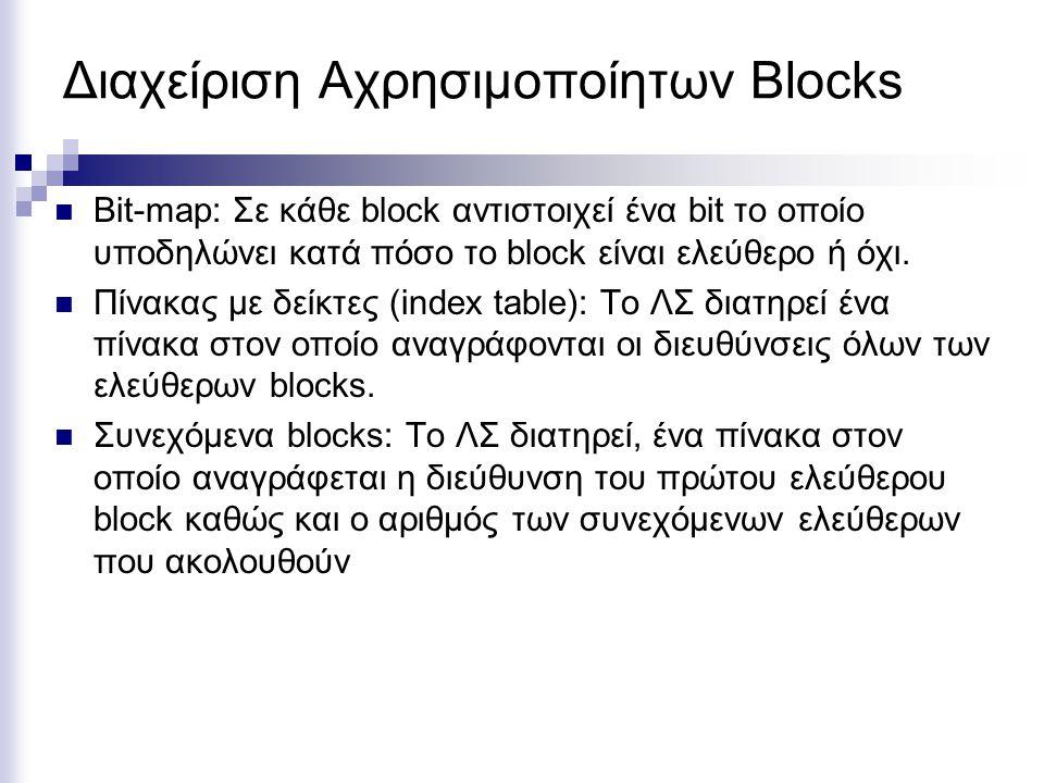 Διαχείριση Αχρησιμοποίητων Blocks Bit-map: Σε κάθε block αντιστοιχεί ένα bit το οποίο υποδηλώνει κατά πόσο το block είναι ελεύθερο ή όχι. Πίνακας με δ