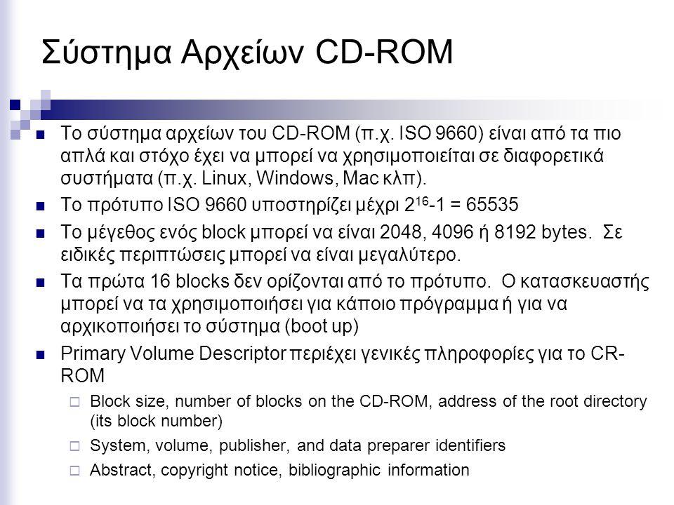 Σύστημα Αρχείων CD-ROM Το σύστημα αρχείων του CD-ROM (π.χ. ISO 9660) είναι από τα πιο απλά και στόχο έχει να μπορεί να χρησιμοποιείται σε διαφορετικά