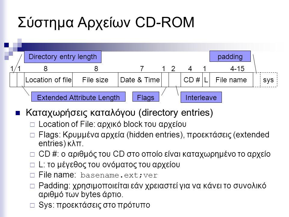 Σύστημα Αρχείων CD-ROM Καταχωρήσεις καταλόγου (directory entries)  Location of File: αρχικό block του αρχείου  Flags: Κρυμμένα αρχεία (hidden entrie
