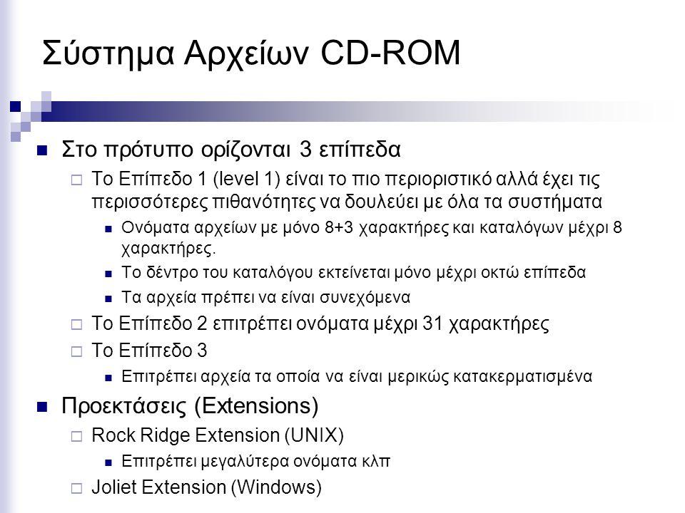 Σύστημα Αρχείων CD-ROM Στο πρότυπο ορίζονται 3 επίπεδα  Το Επίπεδο 1 (level 1) είναι το πιο περιοριστικό αλλά έχει τις περισσότερες πιθανότητες να δο