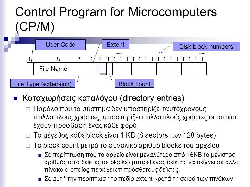 Control Program for Microcomputers (CP/M) Καταχωρήσεις καταλόγου (directory entries)  Παρόλο που το σύστημα δεν υποστηρίζει ταυτόχρονους πολλαπλούς χ