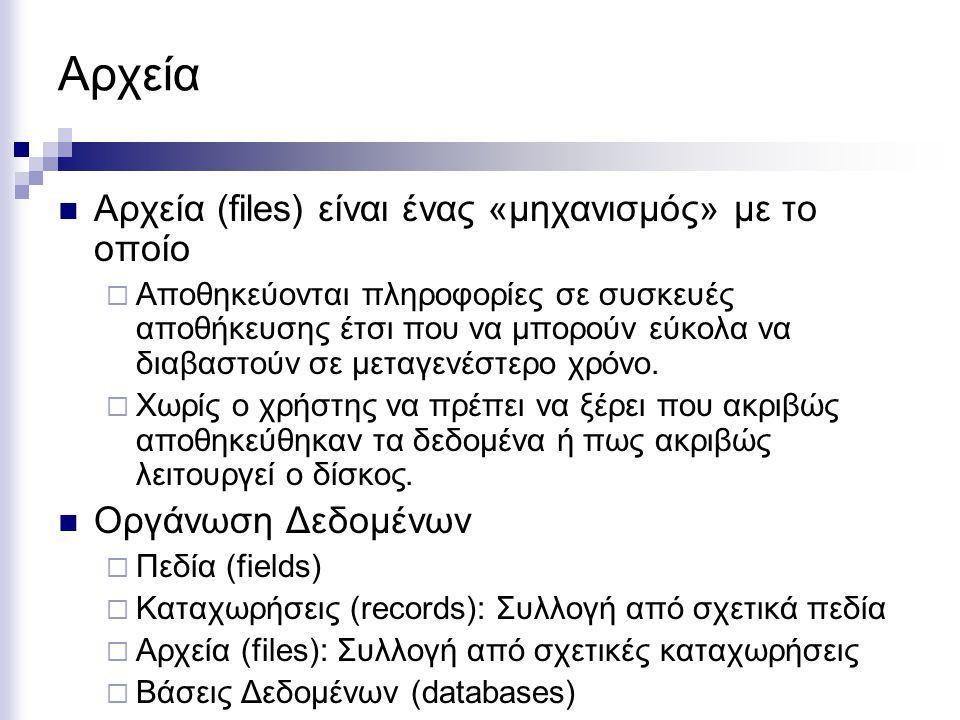 Αρχεία Αρχεία (files) είναι ένας «μηχανισμός» με το οποίο  Αποθηκεύονται πληροφορίες σε συσκευές αποθήκευσης έτσι που να μπορούν εύκολα να διαβαστούν
