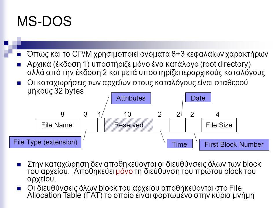 MS-DOS Όπως και το CP/M χρησιμοποιεί ονόματα 8+3 κεφαλαίων χαρακτήρων Αρχικά (έκδοση 1) υποστήριζε μόνο ένα κατάλογο (root directory) αλλά από την έκδ