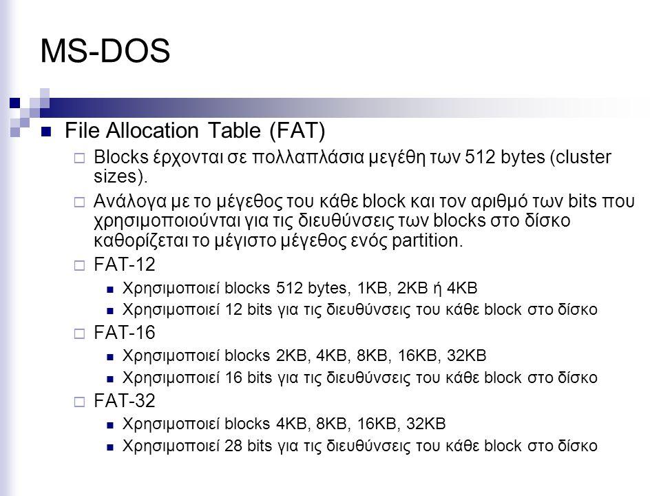 MS-DOS File Allocation Table (FAT)  Blocks έρχονται σε πολλαπλάσια μεγέθη των 512 bytes (cluster sizes).  Ανάλογα με το μέγεθος του κάθε block και τ