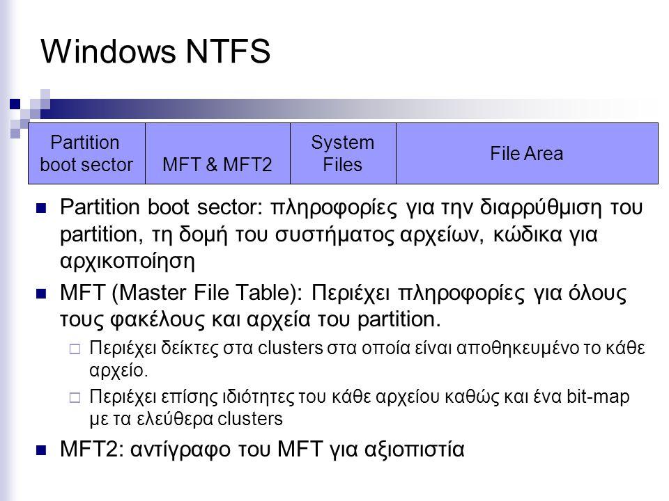 Windows NTFS Partition boot sector: πληροφορίες για την διαρρύθμιση του partition, τη δομή του συστήματος αρχείων, κώδικα για αρχικοποίηση MFT (Master