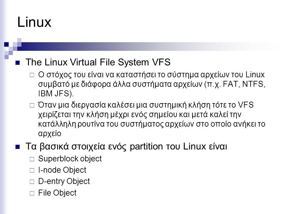 Linux The Linux Virtual File System VFS  Ο στόχος του είναι να καταστήσει το σύστημα αρχείων του Linux συμβατό με διάφορα άλλα συστήματα αρχείων (π.χ