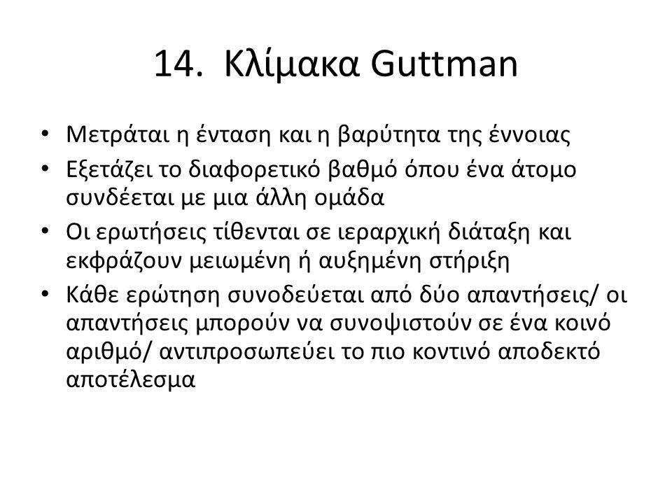 14. Κλίμακα Guttman Μετράται η ένταση και η βαρύτητα της έννοιας Εξετάζει το διαφορετικό βαθμό όπου ένα άτομο συνδέεται με μια άλλη ομάδα Oι ερωτήσεις
