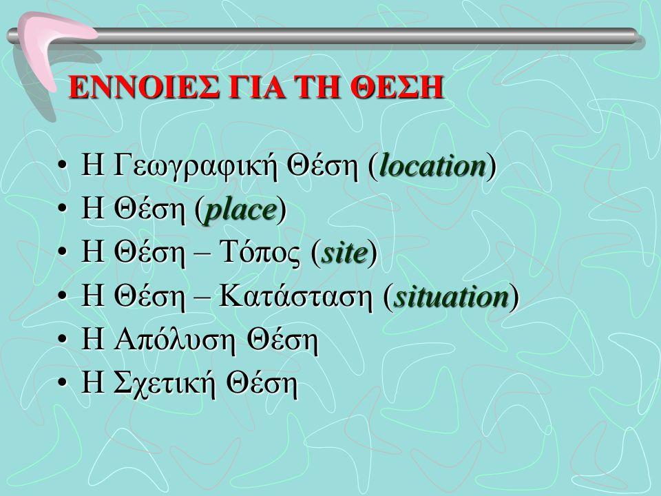 ΕΝΝΟΙΕΣ ΓΙΑ ΤΗ ΘΕΣΗ Η Γεωγραφική Θέση (location)Η Γεωγραφική Θέση (location) Η Θέση (place)Η Θέση (place) Η Θέση – Τόπος (site)Η Θέση – Τόπος (site) Η