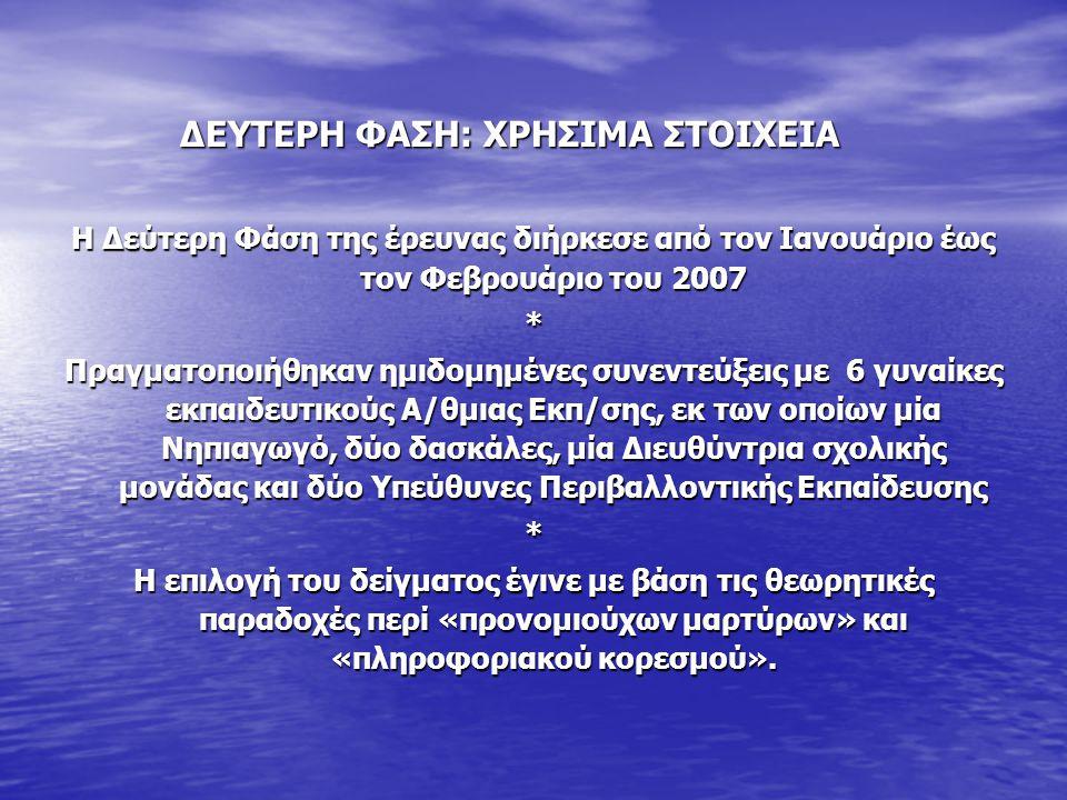 Η Δεύτερη Φάση της έρευνας διήρκεσε από τον Ιανουάριο έως τον Φεβρουάριο του 2007 * Πραγματοποιήθηκαν ημιδομημένες συνεντεύξεις με 6 γυναίκες εκπαιδευτικούς Α/θμιας Εκπ/σης, εκ των οποίων μία Νηπιαγωγό, δύο δασκάλες, μία Διευθύντρια σχολικής μονάδας και δύο Υπεύθυνες Περιβαλλοντικής Εκπαίδευσης * Η επιλογή του δείγματος έγινε με βάση τις θεωρητικές παραδοχές περί «προνομιούχων μαρτύρων» και «πληροφοριακού κορεσμού».