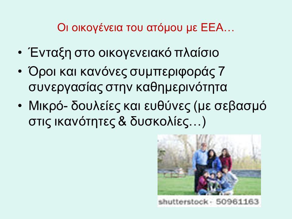 Οι οικογένεια του ατόμου με ΕΕΑ… Ένταξη στο οικογενειακό πλαίσιο Όροι και κανόνες συμπεριφοράς 7 συνεργασίας στην καθημερινότητα Μικρό- δουλείες και ε