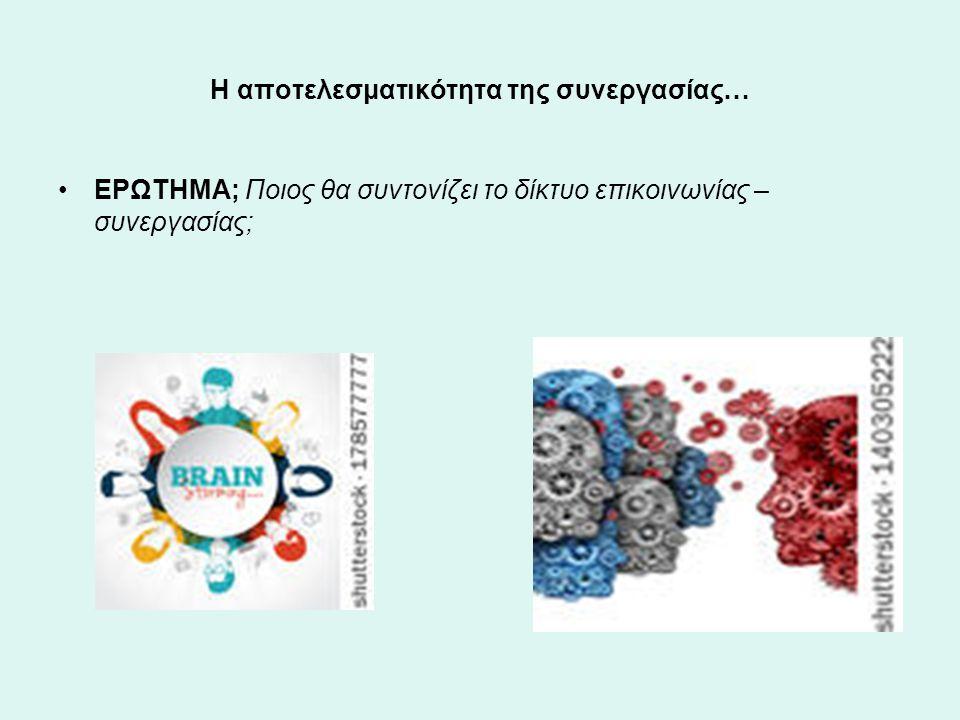 Η αποτελεσματικότητα της συνεργασίας… ΕΡΩΤΗΜΑ; Ποιος θα συντονίζει το δίκτυο επικοινωνίας – συνεργασίας;