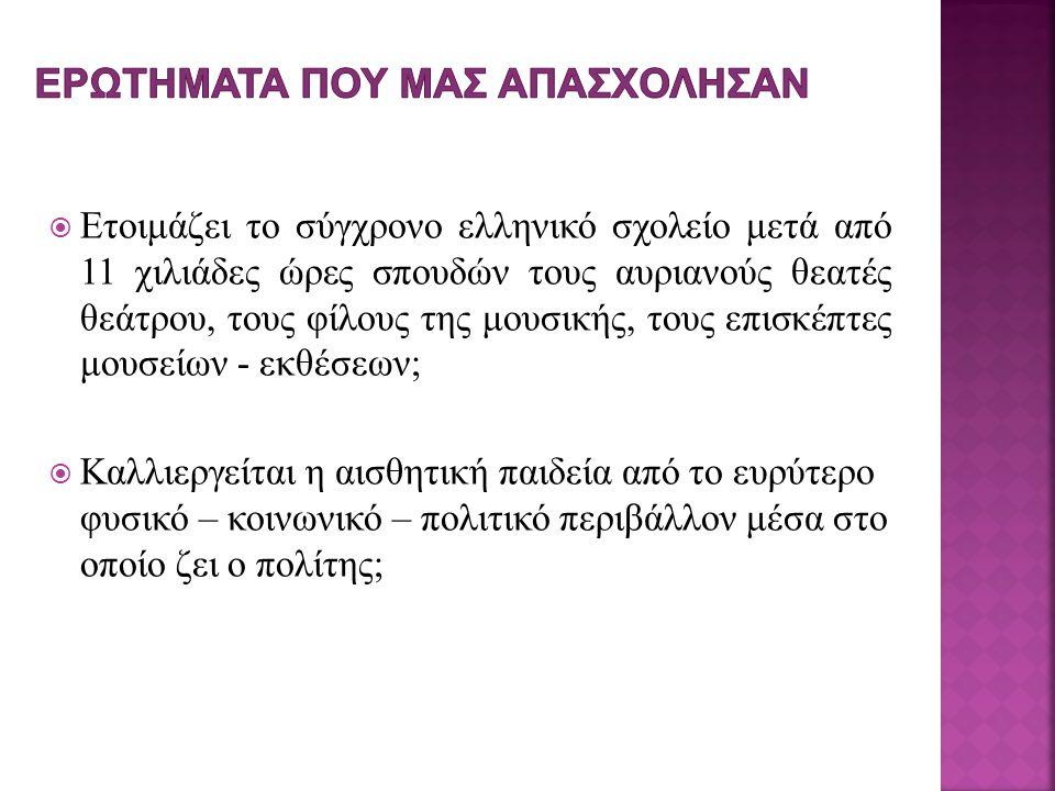  Ετοιμάζει το σύγχρονο ελληνικό σχολείο μετά από 11 χιλιάδες ώρες σπουδών τους αυριανούς θεατές θεάτρου, τους φίλους της μουσικής, τους επισκέπτες μουσείων - εκθέσεων;  Καλλιεργείται η αισθητική παιδεία από το ευρύτερο φυσικό – κοινωνικό – πολιτικό περιβάλλον μέσα στο οποίο ζει ο πολίτης;