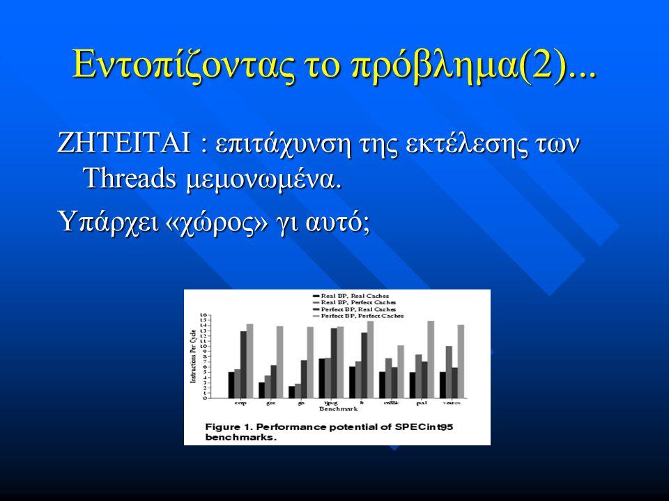 Εντοπίζοντας το πρόβλημα(2)... ΖΗΤΕΙΤΑΙ : επιτάχυνση της εκτέλεσης των Threads μεμονωμένα. Υπάρχει «χώρος» γι αυτό;