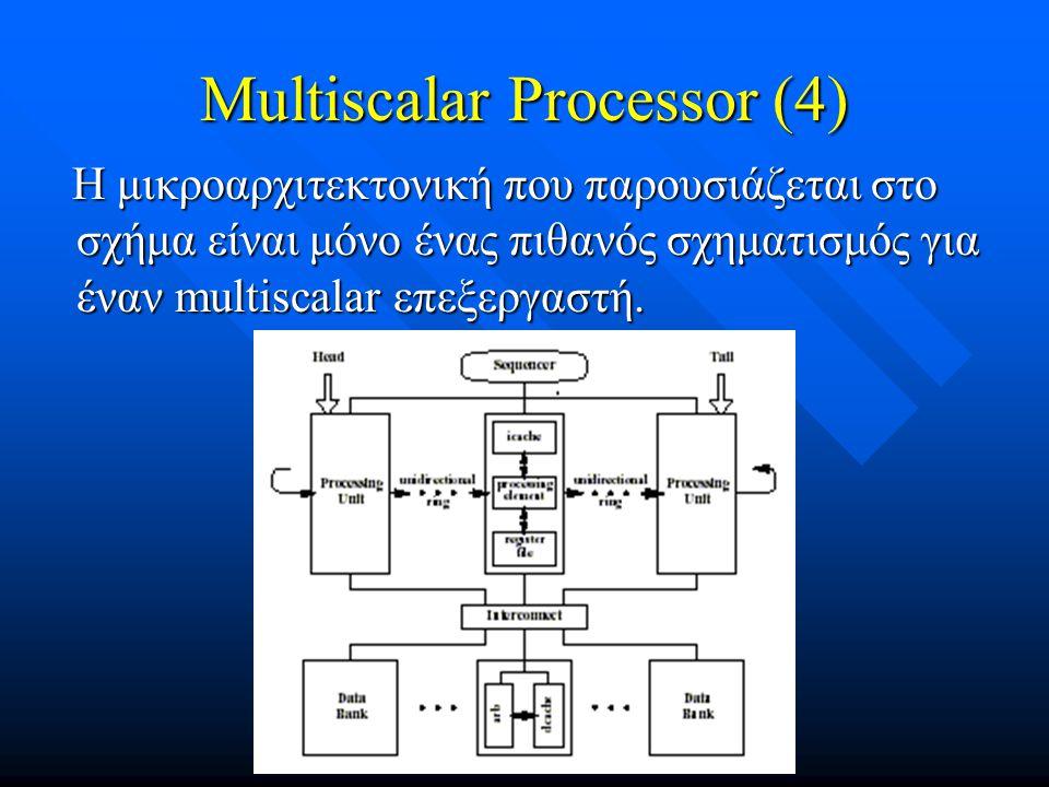 Multiscalar Processor (4) Η μικροαρχιτεκτονική που παρουσιάζεται στο σχήμα είναι μόνο ένας πιθανός σχηματισμός για έναν multiscalar επεξεργαστή. Η μικ