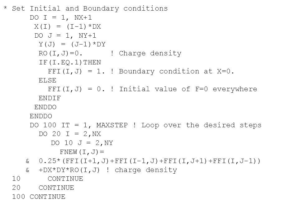 PI = 4.0*ATAN(1.0) XL = 1.0 H = XL/(N+1) D = 2.0/H E = -1.0/H B0 = PI/H B1 = 1.0/H C Find the elements in L and U W(1) = D U(1) = E/D DO 100 I = 2, N W(I) = D-E*U(I-1) U(I) = E/W(I) 100 CONTINUE C Assign the array B DO 200 I = 1, N XIM = H*(I-1) XI = H*I XIP = H*(I+1) B(I) = B0*COS(PI*XD)*(XIM+XIP-2.0*XI) * +B1*(2.0*SIN(PI*XI)-SIN(PI*XIM)-SIN(PI*XIP)) 200 CONTINUE C Find the solution Y(1) = B(1)/W(1) DO 300 I = 2, N Y(I) = (B(I)-E*Y(I-1))/W(I) 300 CONTINUE C A(N) = Y(N) DO 400 I = N-1,1,-1 A(I) = Y(I)-U(I)*A(I+1) 400 CONTINUE
