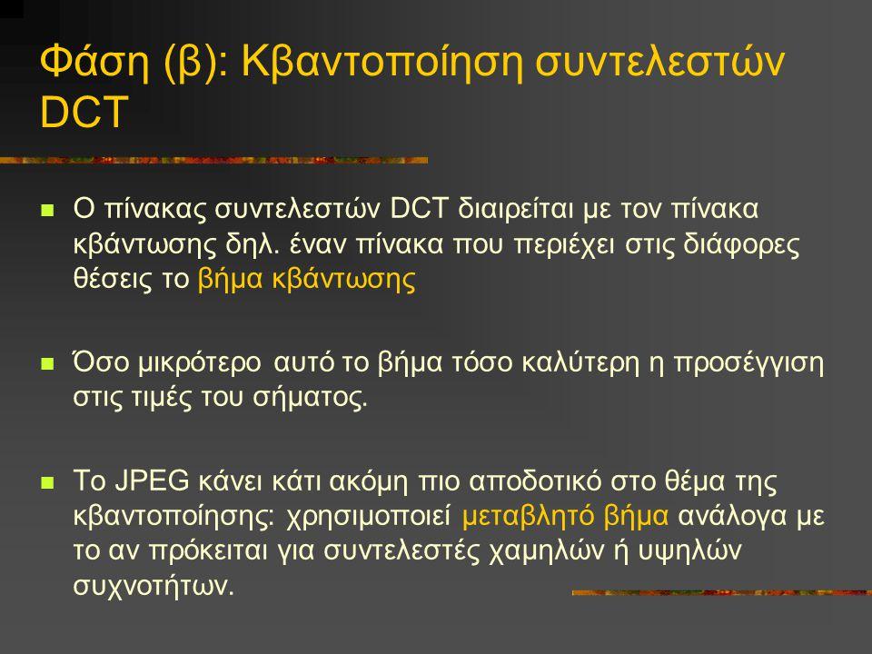 Φάση (β): Κβαντοποίηση συντελεστών DCT Ο πίνακας συντελεστών DCT διαιρείται με τον πίνακα κβάντωσης δηλ. έναν πίνακα που περιέχει στις διάφορες θέσεις