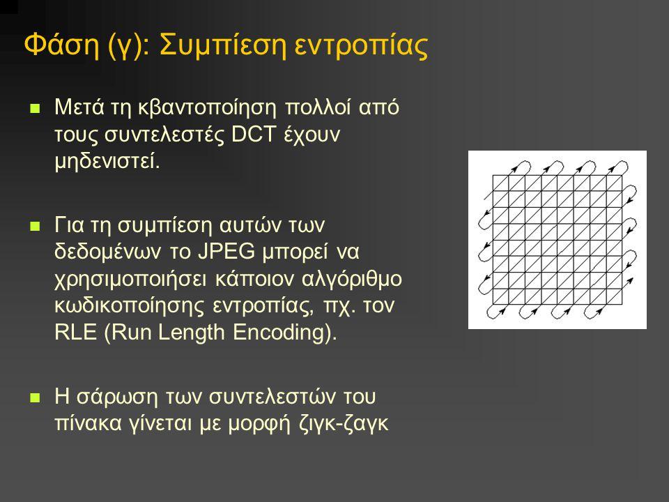 Φάση (γ): Συμπίεση εντροπίας Μετά τη κβαντοποίηση πολλοί από τους συντελεστές DCT έχουν μηδενιστεί. Για τη συμπίεση αυτών των δεδομένων το JPEG μπορεί