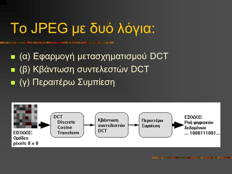 Το JPEG με δυό λόγια: (α) Εφαρμογή μετασχηματισμού DCT (β) Κβάντωση συντελεστών DCT (γ) Περαιτέρω Συμπίεση