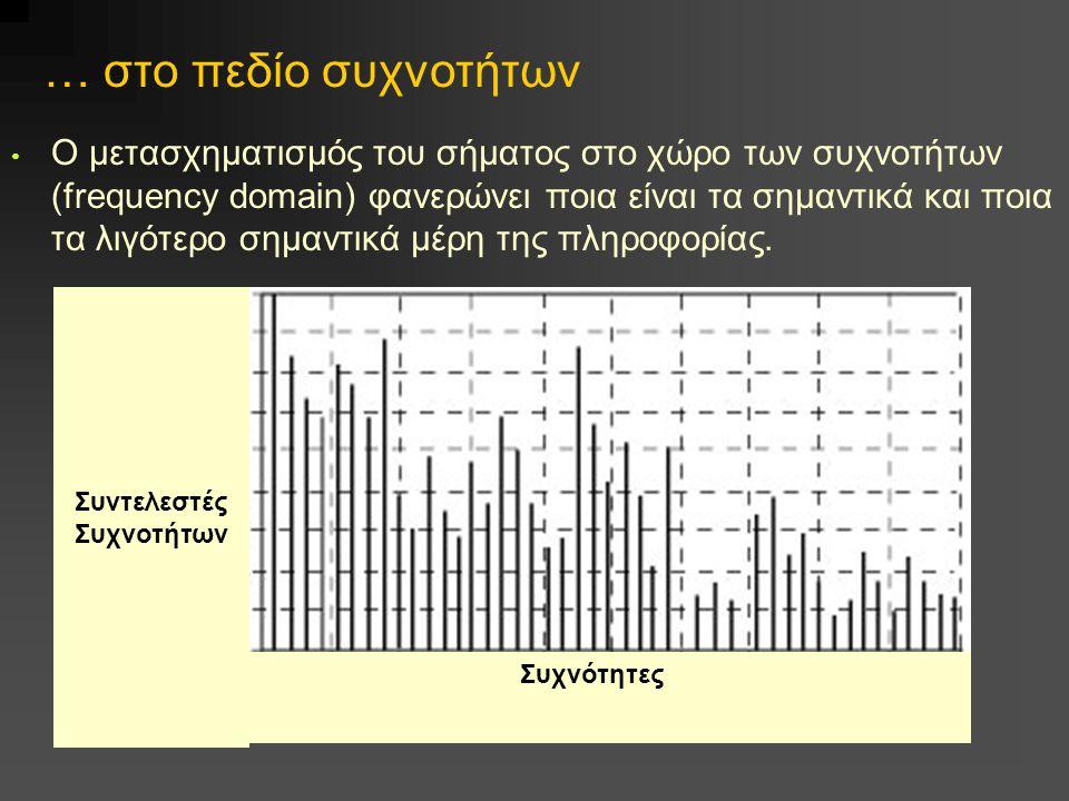 … στο πεδίο συχνοτήτων Ο μετασχηματισμός του σήματος στο χώρο των συχνοτήτων (frequency domain) φανερώνει ποια είναι τα σημαντικά και ποια τα λιγότερο σημαντικά μέρη της πληροφορίας.