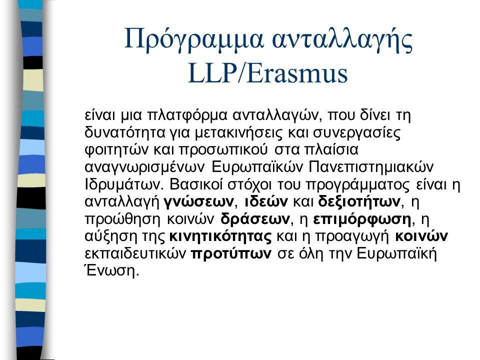 Πρόγραμμα ανταλλαγής LLP/Erasmus είναι μια πλατφόρμα ανταλλαγών, που δίνει τη δυνατότητα για μετακινήσεις και συνεργασίες φοιτητών και προσωπικού στα πλαίσια αναγνωρισμένων Ευρωπαϊκών Πανεπιστημιακών Ιδρυμάτων.
