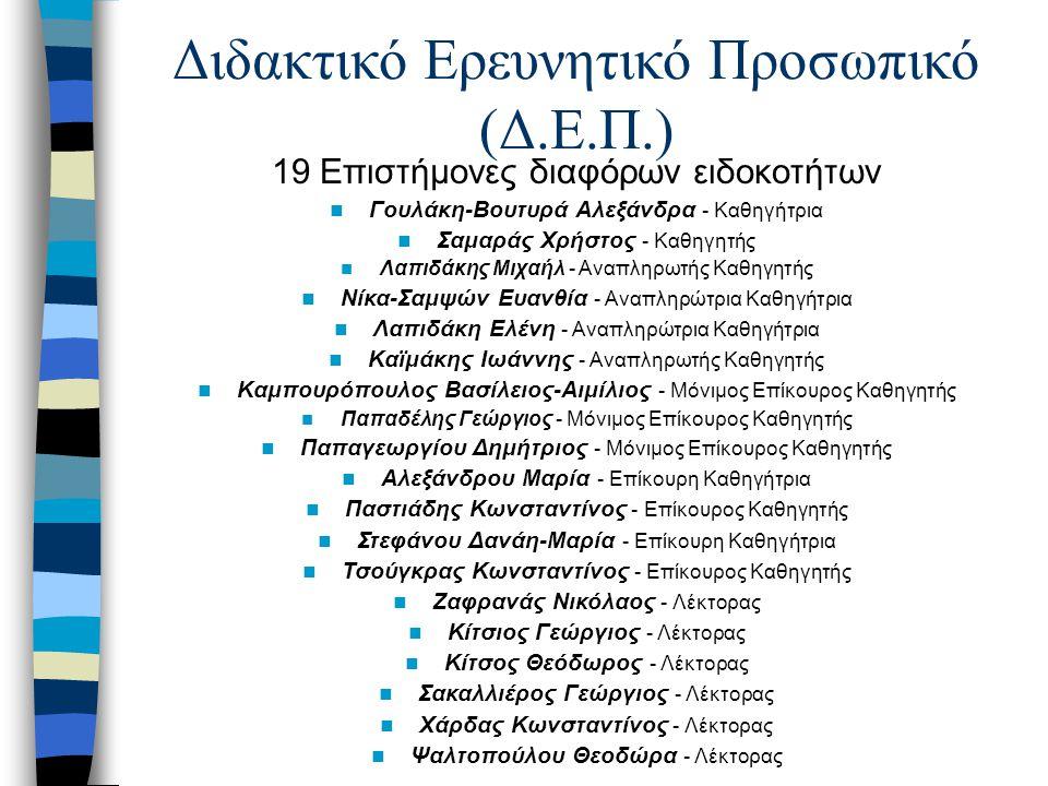 Διδακτικό Ερευνητικό Προσωπικό (Δ.Ε.Π.) 19 Επιστήμονες διαφόρων ειδοκοτήτων Γουλάκη-Bουτυρά Aλεξάνδρα - Καθηγήτρια Σαμαράς Χρήστος - Καθηγητής Λαπιδάκης Μιχαήλ - Αναπληρωτής Καθηγητής Νίκα-Σαμψών Ευανθία - Αναπληρώτρια Καθηγήτρια Λαπιδάκη Eλένη - Αναπληρώτρια Καθηγήτρια Kαϊμάκης Iωάννης - Αναπληρωτής Καθηγητής Καμπουρόπουλος Βασίλειος-Αιμίλιος - Μόνιμος Επίκουρος Καθηγητής Παπαδέλης Γεώργιος - Μόνιμος Επίκουρος Καθηγητής Παπαγεωργίου Δημήτριος - Μόνιμος Επίκουρος Καθηγητής Αλεξάνδρου Μαρία - Επίκουρη Καθηγήτρια Παστιάδης Κωνσταντίνος - Επίκουρος Καθηγητής Στεφάνου Δανάη-Μαρία - Επίκουρη Καθηγήτρια Τσούγκρας Κωνσταντίνος - Επίκουρος Καθηγητής Ζαφρανάς Νικόλαος - Λέκτορας Κίτσιος Γεώργιος - Λέκτορας Κίτσος Θεόδωρος - Λέκτορας Σακαλλιέρος Γεώργιος - Λέκτορας Χάρδας Κωνσταντίνος - Λέκτορας Ψαλτοπούλου Θεοδώρα - Λέκτορας