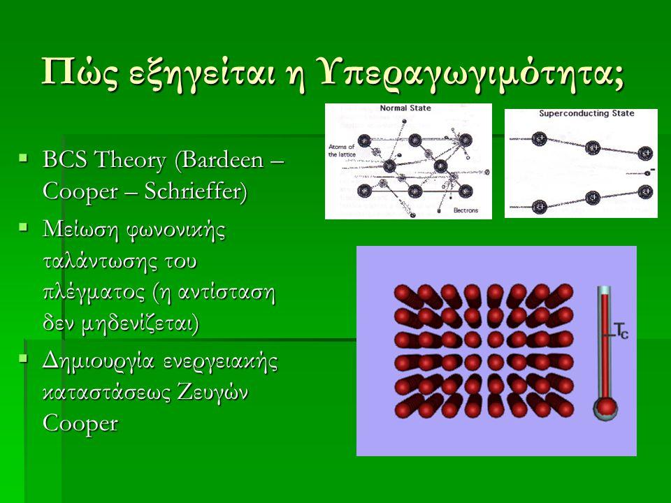 Πώς εξηγείται η Υπεραγωγιμότητα;  BCS Theory (Bardeen – Cooper – Schrieffer)  Μείωση φωνονικής ταλάντωσης του πλέγματος (η αντίσταση δεν μηδενίζεται