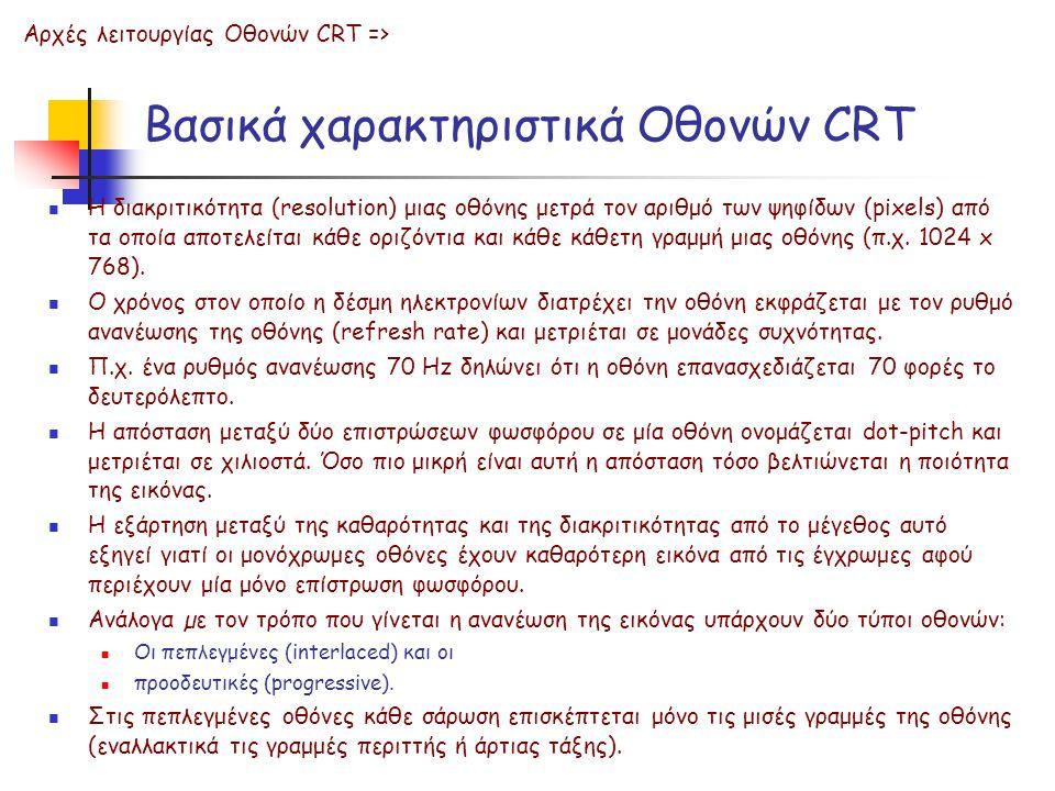 Βασικά χαρακτηριστικά Οθονών CRT Η διακριτικότητα (resolution) μιας οθόνης μετρά τον αριθμό των ψηφίδων (pixels) από τα οποία αποτελείται κάθε οριζόντ