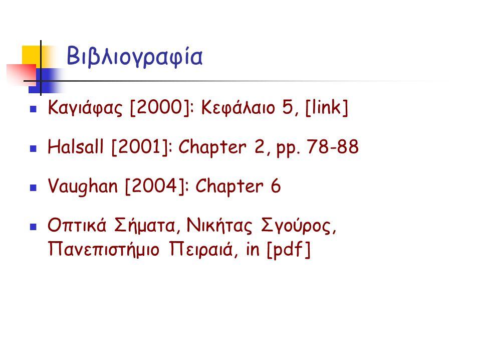 Βιβλιογραφία Καγιάφας [2000]: Κεφάλαιο 5, [link] Halsall [2001]: Chapter 2, pp. 78-88 Vaughan [2004]: Chapter 6 Οπτικά Σήματα, Νικήτας Σγούρος, Πανεπι