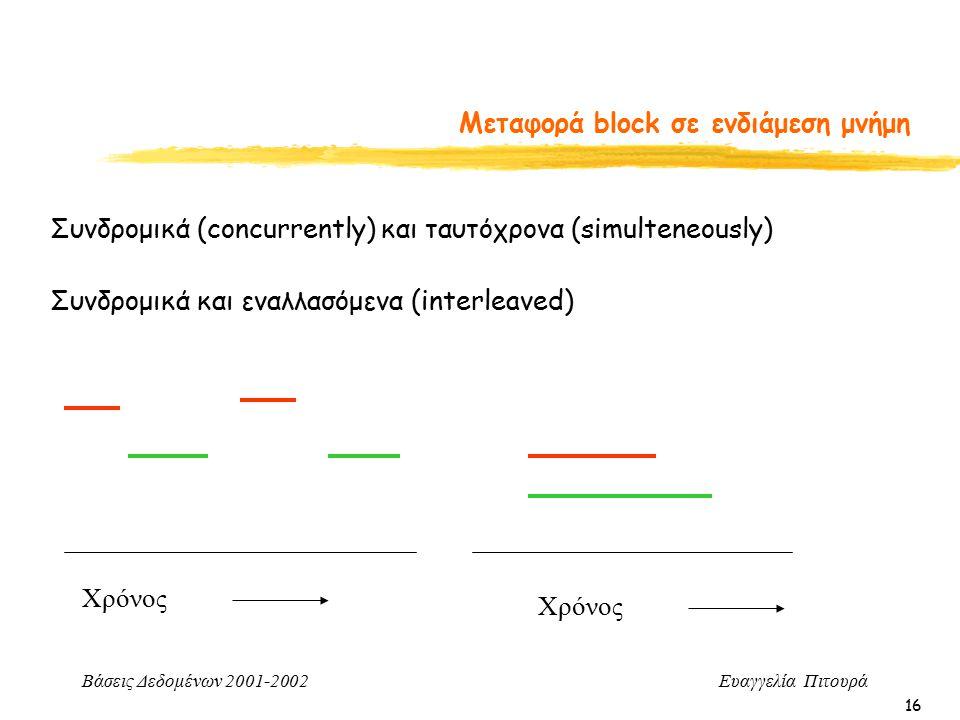 Βάσεις Δεδομένων 2001-2002 Ευαγγελία Πιτουρά 16 Μεταφορά block σε ενδιάμεση μνήμη Συνδρομικά και εναλλασόμενα (interleaved) Συνδρομικά (concurrently) και ταυτόχρονα (simulteneously) Χρόνος