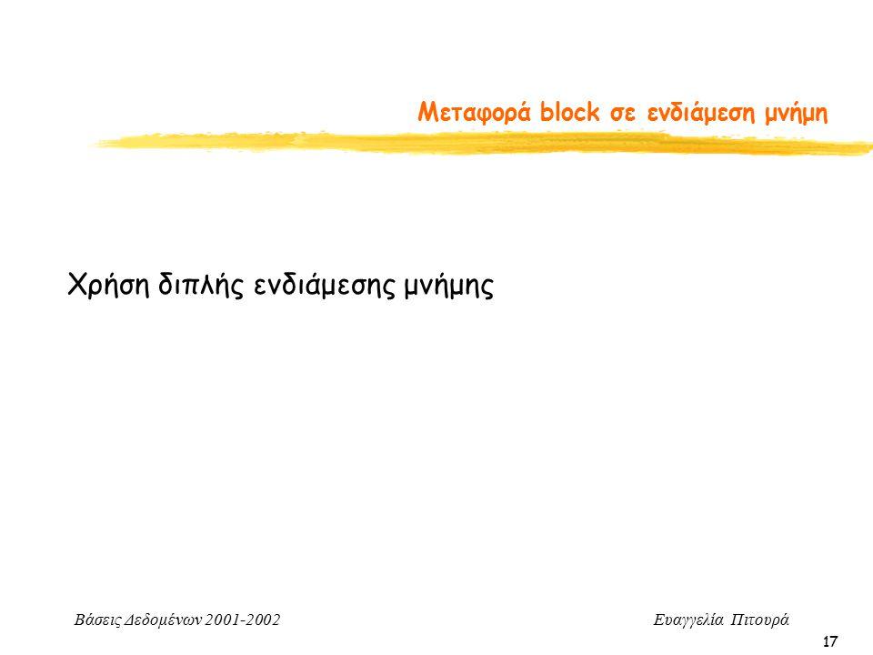Βάσεις Δεδομένων 2001-2002 Ευαγγελία Πιτουρά 17 Μεταφορά block σε ενδιάμεση μνήμη Χρήση διπλής ενδιάμεσης μνήμης