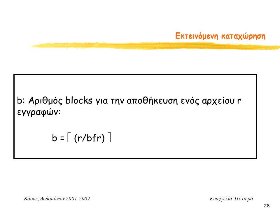 Βάσεις Δεδομένων 2001-2002 Ευαγγελία Πιτουρά 28 Εκτεινόμενη καταχώρηση b: Αριθμός blocks για την αποθήκευση ενός αρχείου r εγγραφών: b =  (r/bfr) 